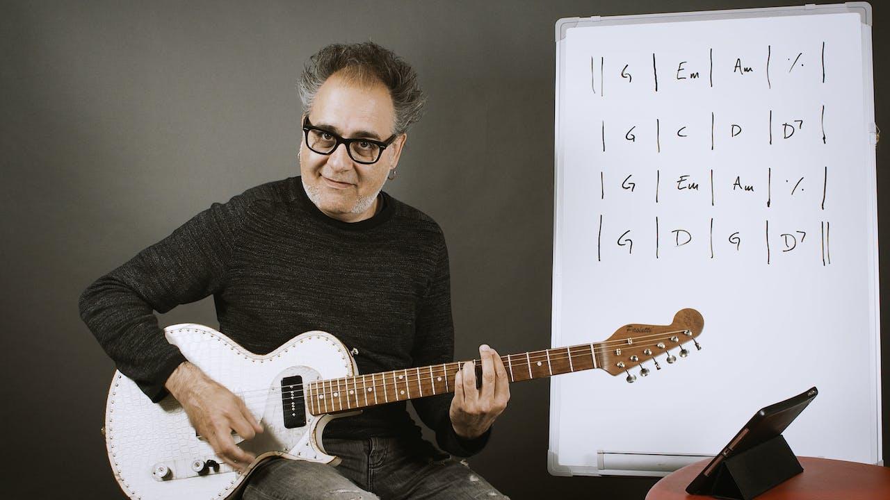Guitarra Rítmica 2 - Ejemplo real con acordes M, m y 7 (Parte 1)